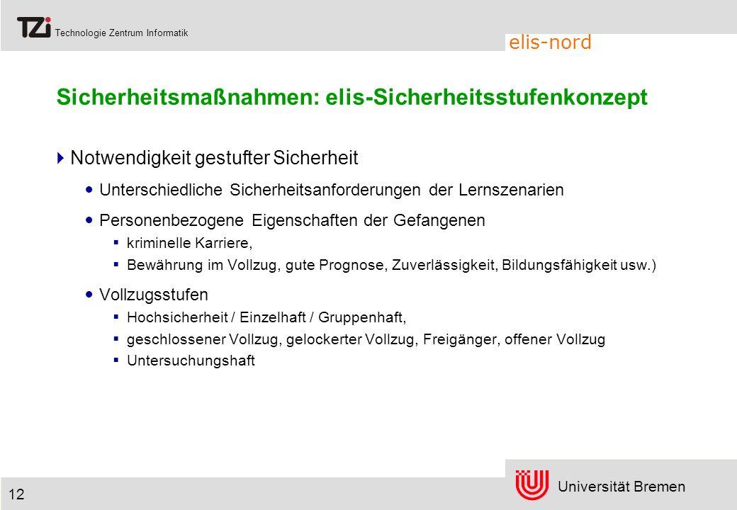 Universität Bremen Technologie Zentrum Informatik elis-nord 12 Sicherheitsmaßnahmen: elis-Sicherheitsstufenkonzept Notwendigkeit gestufter Sicherheit