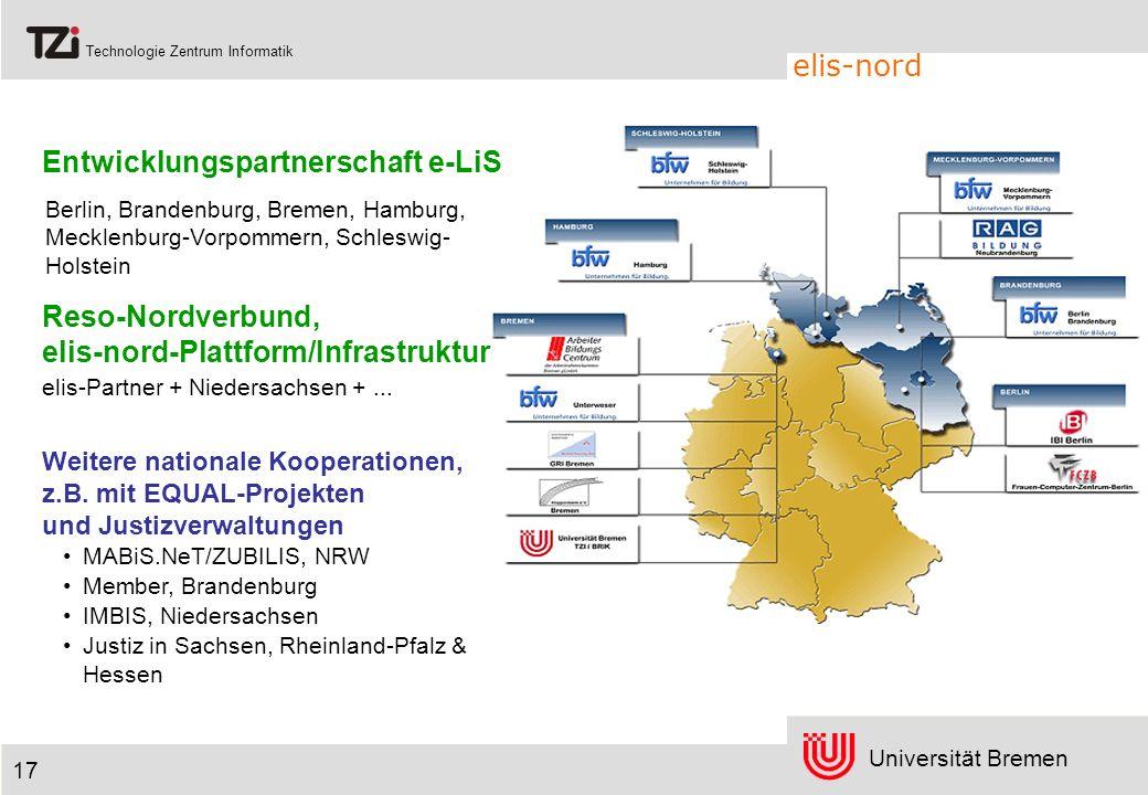Universität Bremen Technologie Zentrum Informatik elis-nord 17 Entwicklungspartnerschaft e-LiS Weitere nationale Kooperationen, z.B. mit EQUAL-Projekt