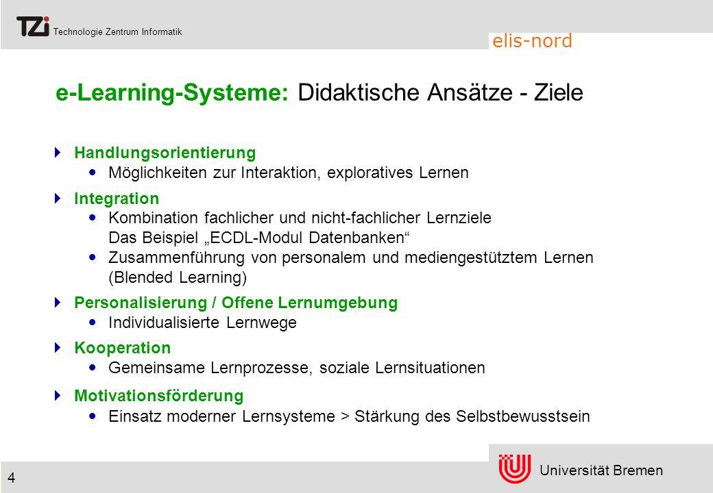 Universität Bremen Technologie Zentrum Informatik elis-nord 4 e-Learning-Systeme: Didaktische Ansätze - Ziele Handlungsorientierung Möglichkeiten zur