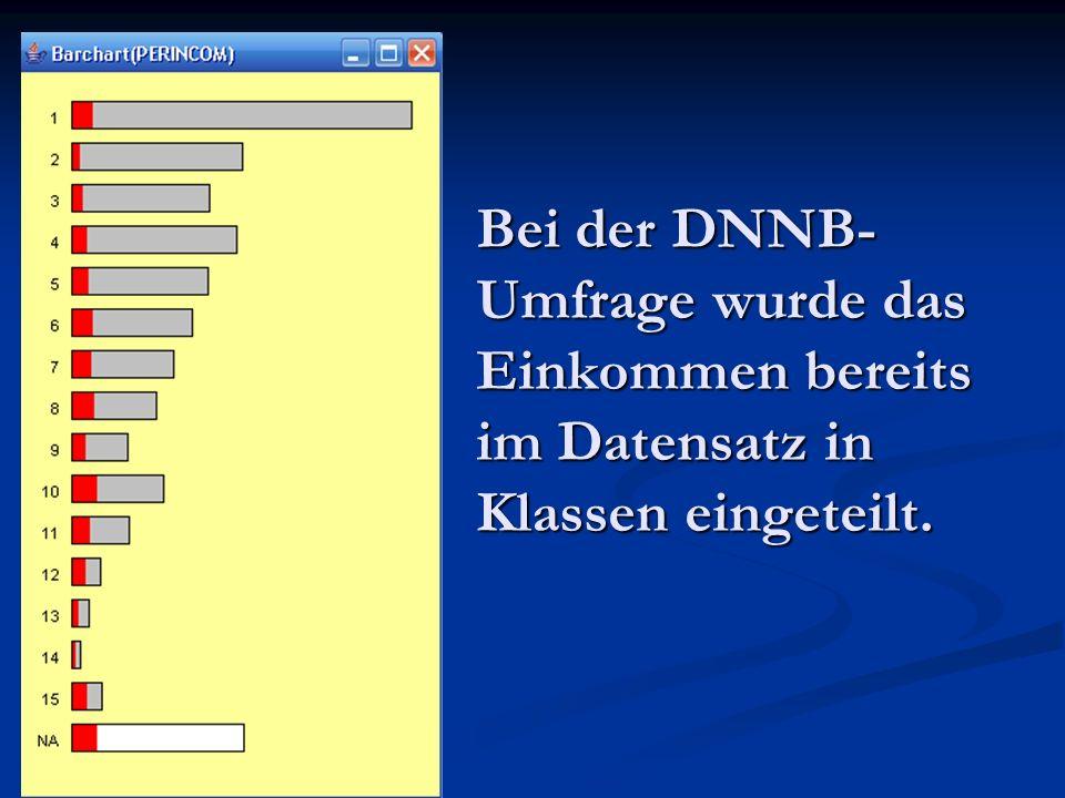 Bei der DNNB- Umfrage wurde das Einkommen bereits im Datensatz in Klassen eingeteilt.