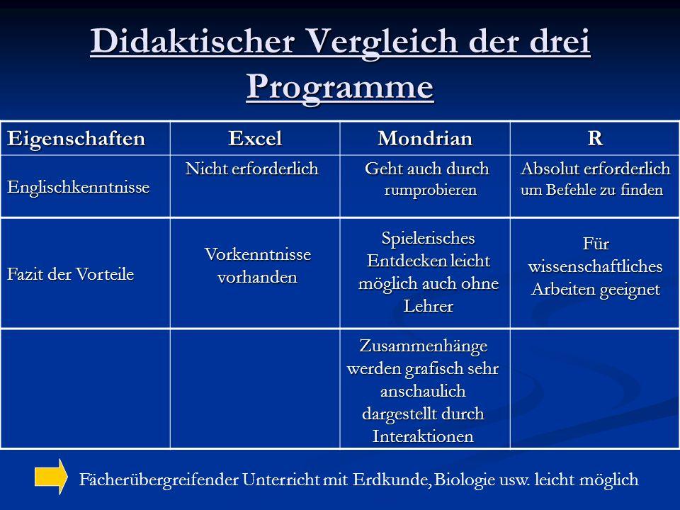 Didaktischer Vergleich der drei Programme EigenschaftenExcelMondrianR Englischkenntnisse Fazit der Vorteile Fächerübergreifender Unterricht mit Erdkun