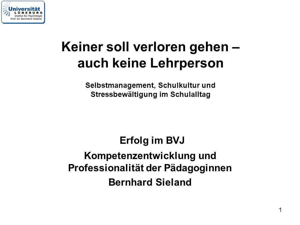 1 Erfolg im BVJ Kompetenzentwicklung und Professionalität der Pädagoginnen Bernhard Sieland Keiner soll verloren gehen – auch keine Lehrperson Selbstm