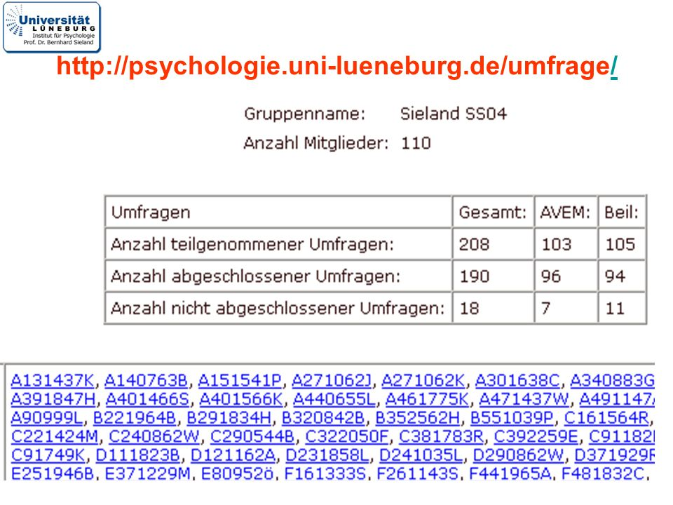 15 http://psychologie.uni-lueneburg.de/umfrage//