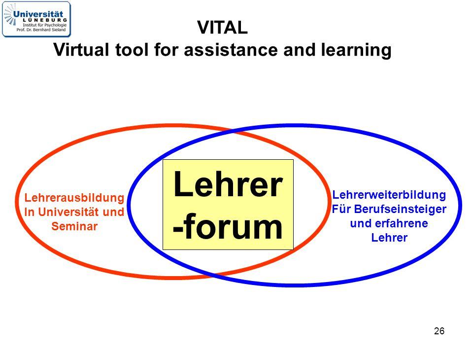 26 Lehrer -forum Lehrerweiterbildung Für Berufseinsteiger und erfahrene Lehrer Lehrerausbildung In Universität und Seminar VITAL Virtual tool for assi