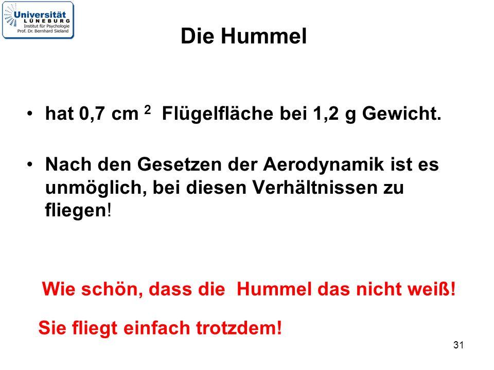 31 Die Hummel hat 0,7 cm 2 Flügelfläche bei 1,2 g Gewicht. Nach den Gesetzen der Aerodynamik ist es unmöglich, bei diesen Verhältnissen zu fliegen! Si