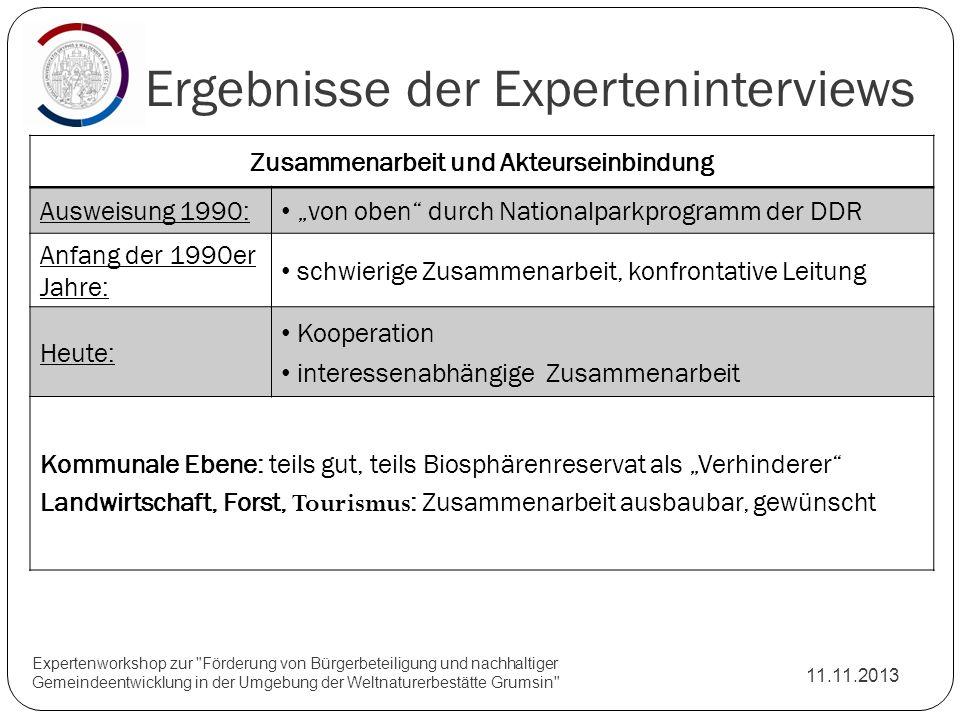 Ergebnisse der Experteninterviews 11.11.2013 Expertenworkshop zur