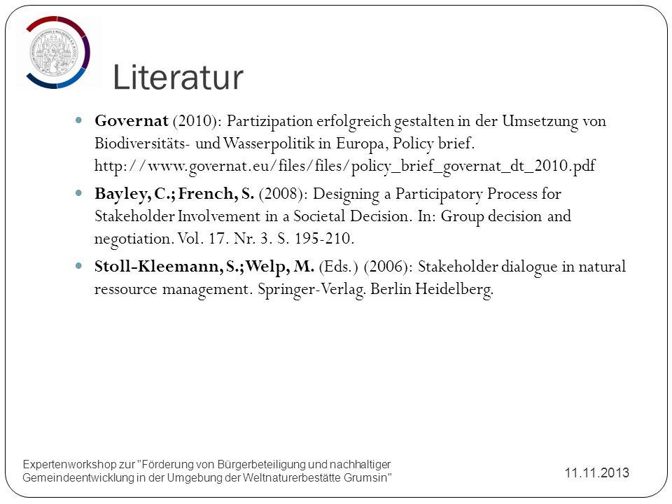 Literatur 11.11.2013 Expertenworkshop zur