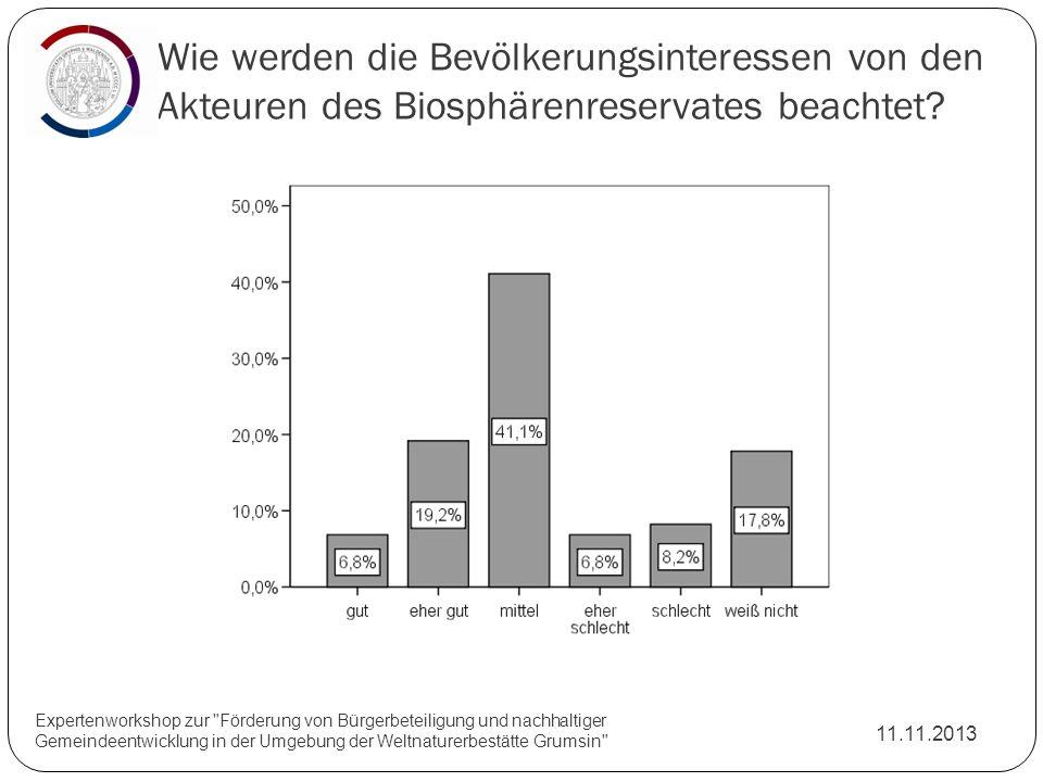 Wie werden die Bevölkerungsinteressen von den Akteuren des Biosphärenreservates beachtet? 11.11.2013 Expertenworkshop zur