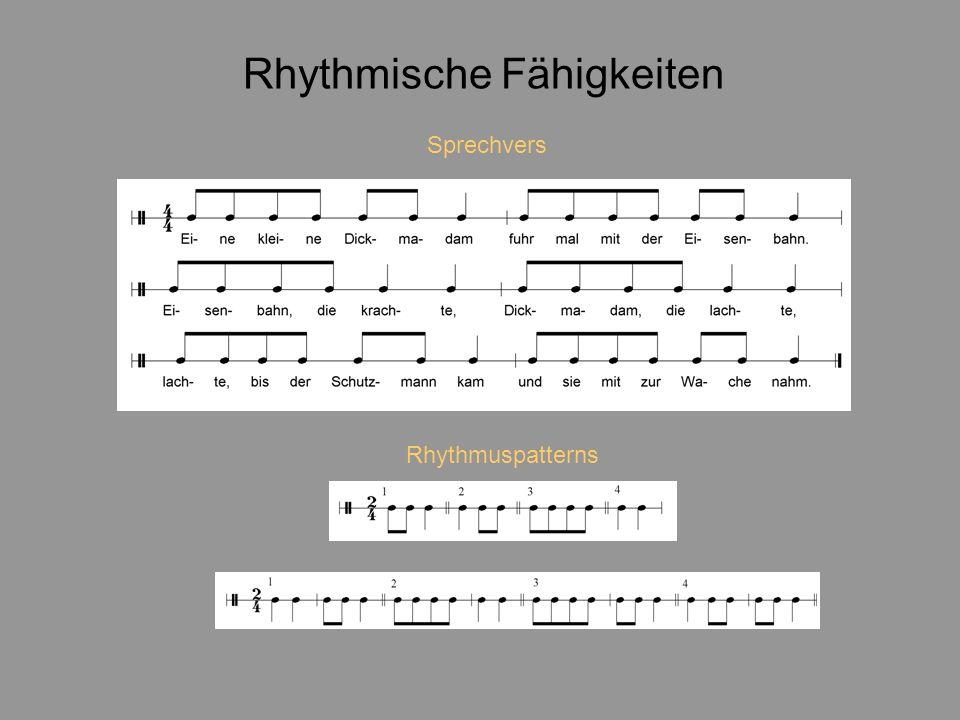 Rhythmische Fähigkeiten Rhythmuspatterns Sprechvers