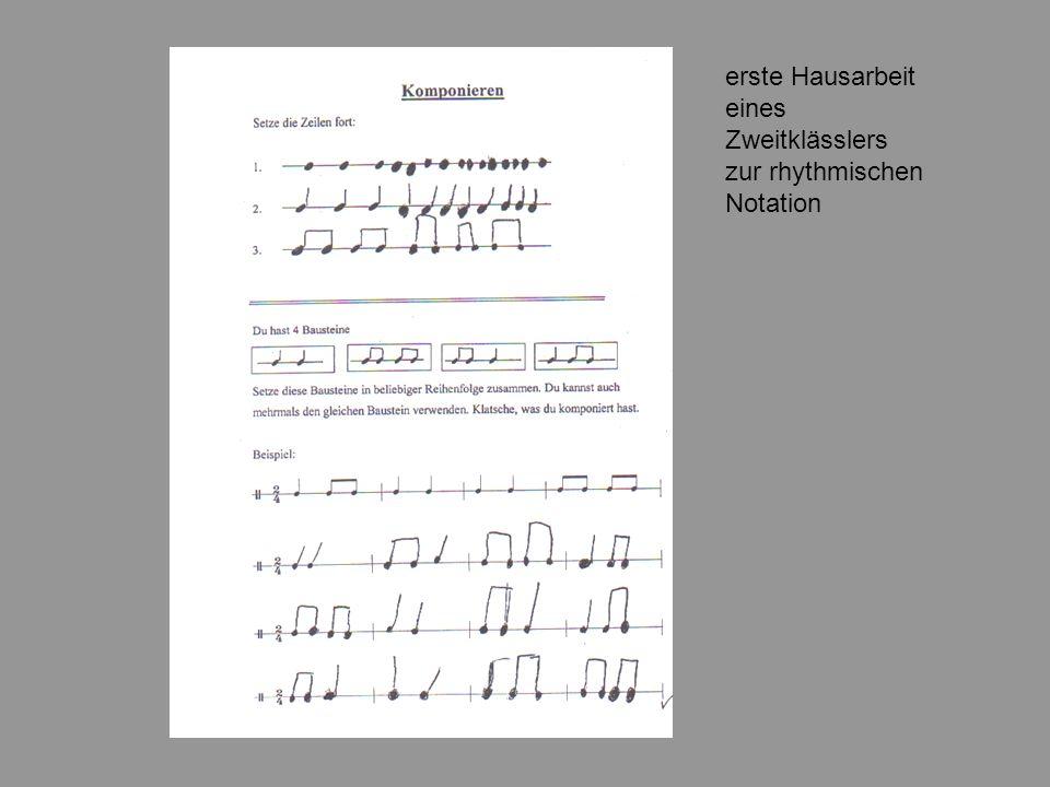 erste Hausarbeit eines Zweitklässlers zur rhythmischen Notation
