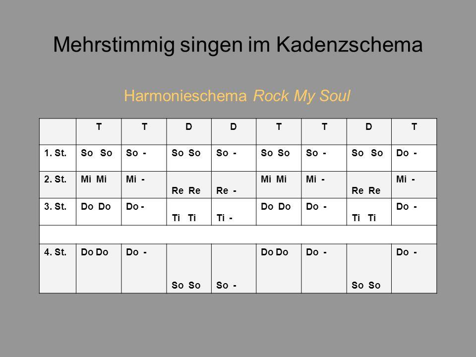 Mehrstimmig singen im Kadenzschema Harmonieschema Rock My Soul TTDDTTDT 1.