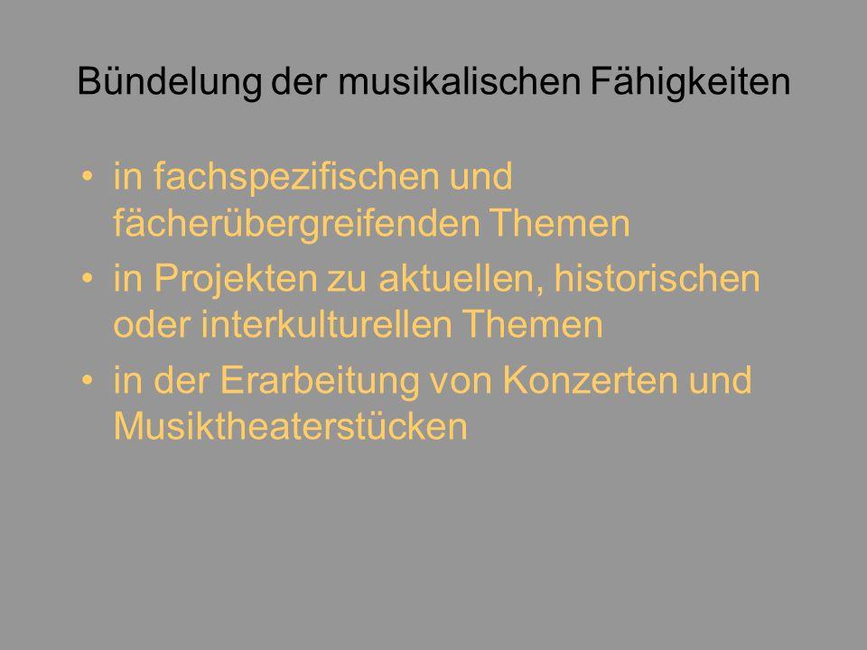 Bündelung der musikalischen Fähigkeiten in fachspezifischen und fächerübergreifenden Themen in Projekten zu aktuellen, historischen oder interkulturellen Themen in der Erarbeitung von Konzerten und Musiktheaterstücken
