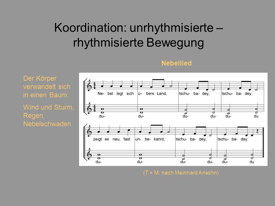 Koordination: unrhythmisierte – rhythmisierte Bewegung Der Körper verwandelt sich in einen Baum: Wind und Sturm, Regen, Nebelschwaden Nebellied (T + M: nach Meinhard Ansohn)