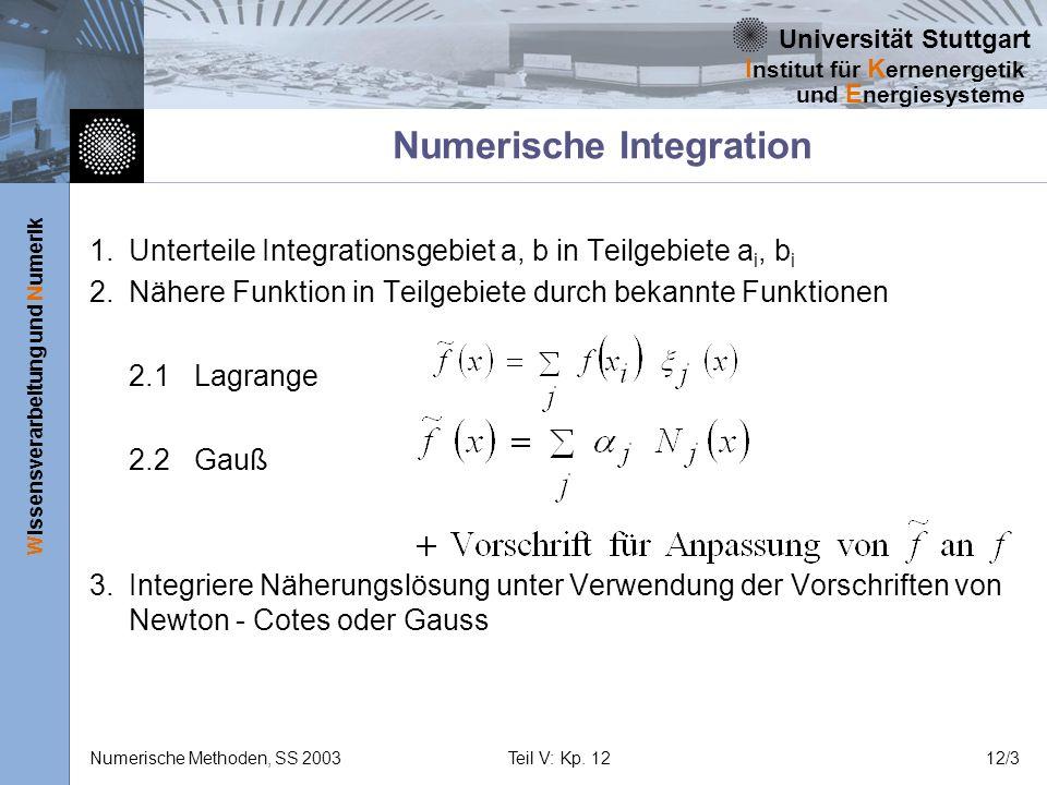Universität Stuttgart Wissensverarbeitung und Numerik I nstitut für K ernenergetik und E nergiesysteme Numerische Methoden, SS 2003Teil V: Kp. 1212/3