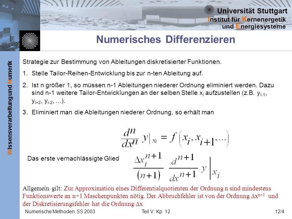 Universität Stuttgart Wissensverarbeitung und Numerik I nstitut für K ernenergetik und E nergiesysteme Numerische Methoden, SS 2003Teil V: Kp. 1212/4
