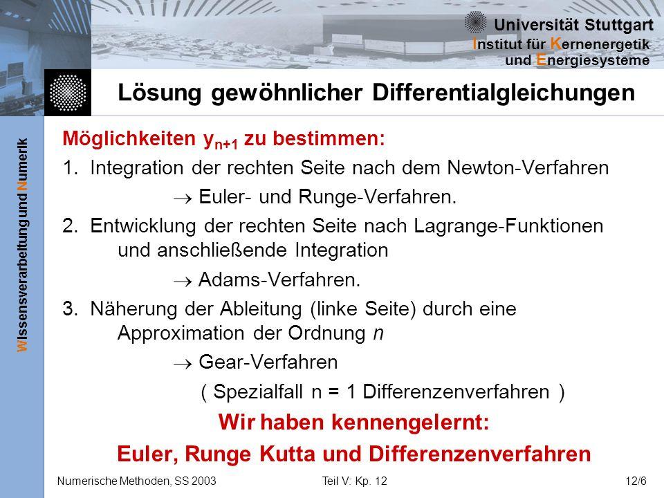 Universität Stuttgart Wissensverarbeitung und Numerik I nstitut für K ernenergetik und E nergiesysteme Numerische Methoden, SS 2003Teil V: Kp. 1212/6