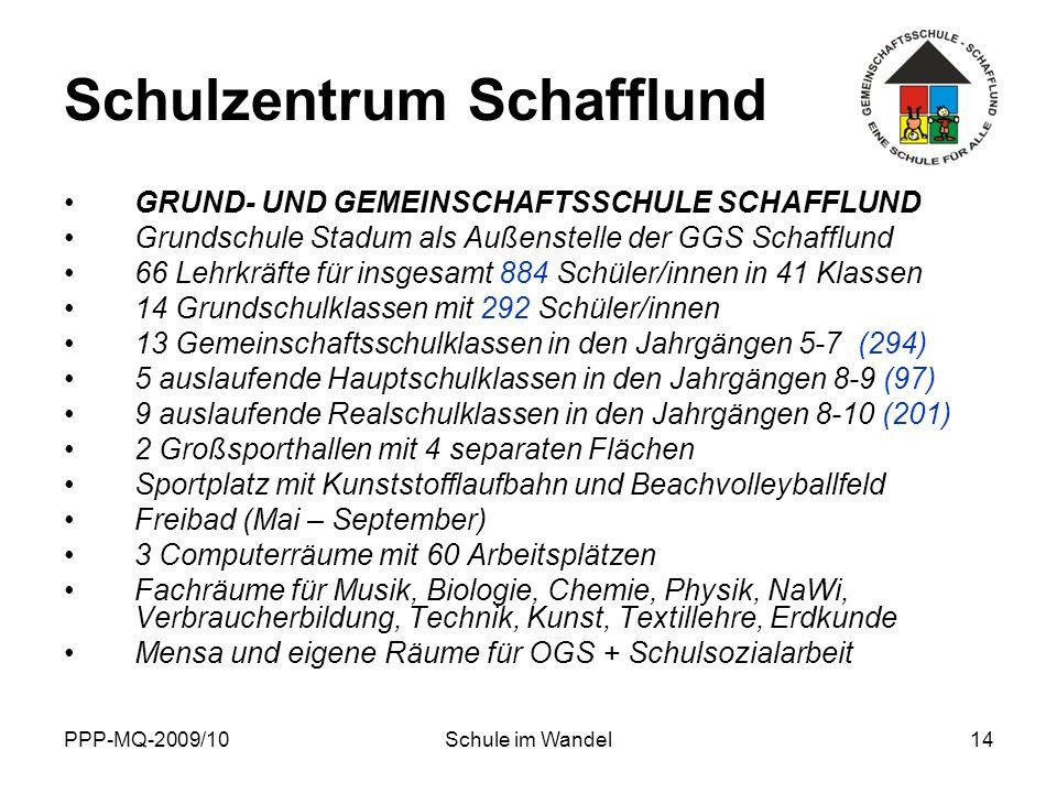 PPP-MQ-2009/10Schule im Wandel14 Schulzentrum Schafflund GRUND- UND GEMEINSCHAFTSSCHULE SCHAFFLUND Grundschule Stadum als Außenstelle der GGS Schafflu
