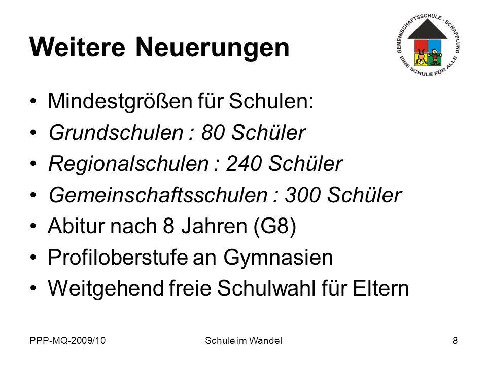 PPP-MQ-2009/10Schule im Wandel19 Ausblick Kurskorrekturen durch neue Landesregierung: Realschule als Angebotsschule.