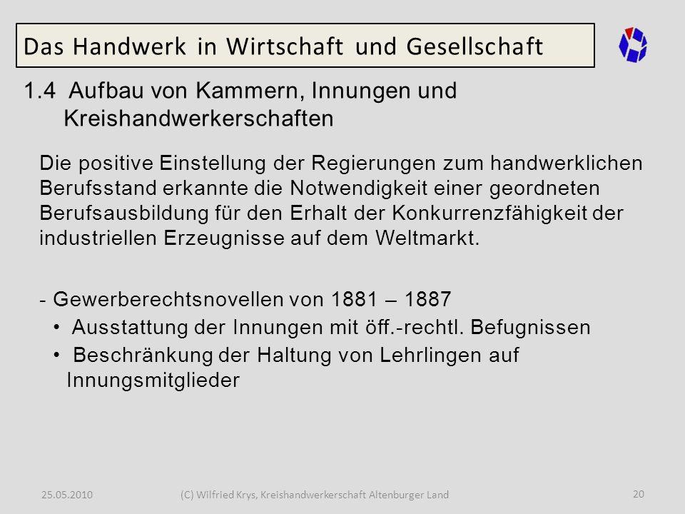 25.05.2010(C) Wilfried Krys, Kreishandwerkerschaft Altenburger Land 20 Das Handwerk in Wirtschaft und Gesellschaft 1.4 Aufbau von Kammern, Innungen un