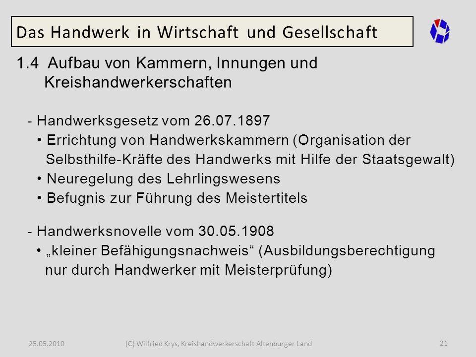 25.05.2010(C) Wilfried Krys, Kreishandwerkerschaft Altenburger Land 21 Das Handwerk in Wirtschaft und Gesellschaft 1.4 Aufbau von Kammern, Innungen un
