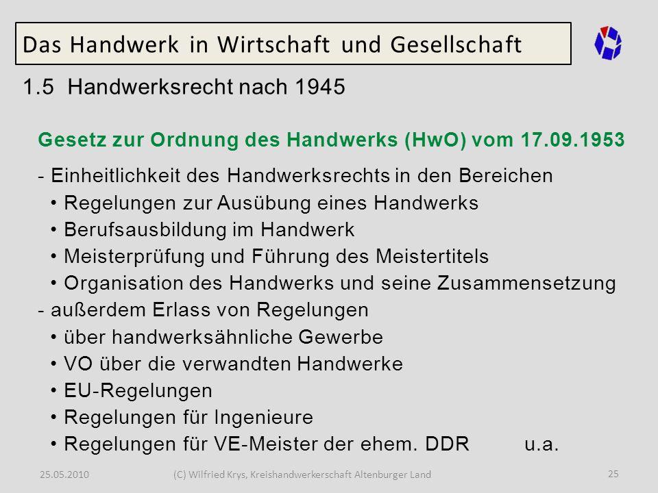 25.05.2010(C) Wilfried Krys, Kreishandwerkerschaft Altenburger Land 25 Das Handwerk in Wirtschaft und Gesellschaft 1.5 Handwerksrecht nach 1945 Gesetz