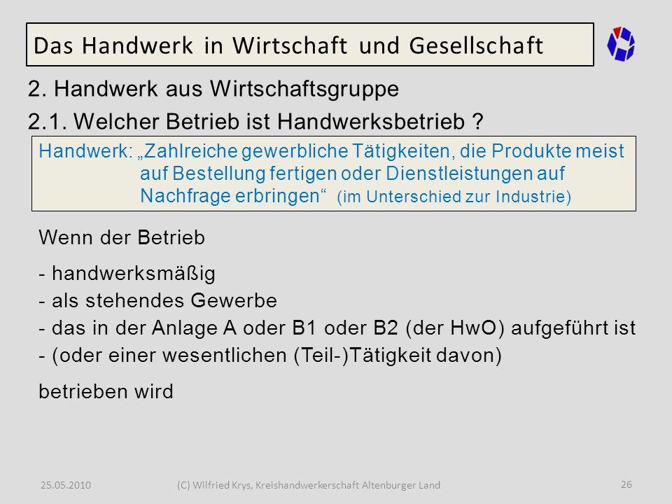25.05.2010(C) Wilfried Krys, Kreishandwerkerschaft Altenburger Land 26 Das Handwerk in Wirtschaft und Gesellschaft 2. Handwerk aus Wirtschaftsgruppe 2