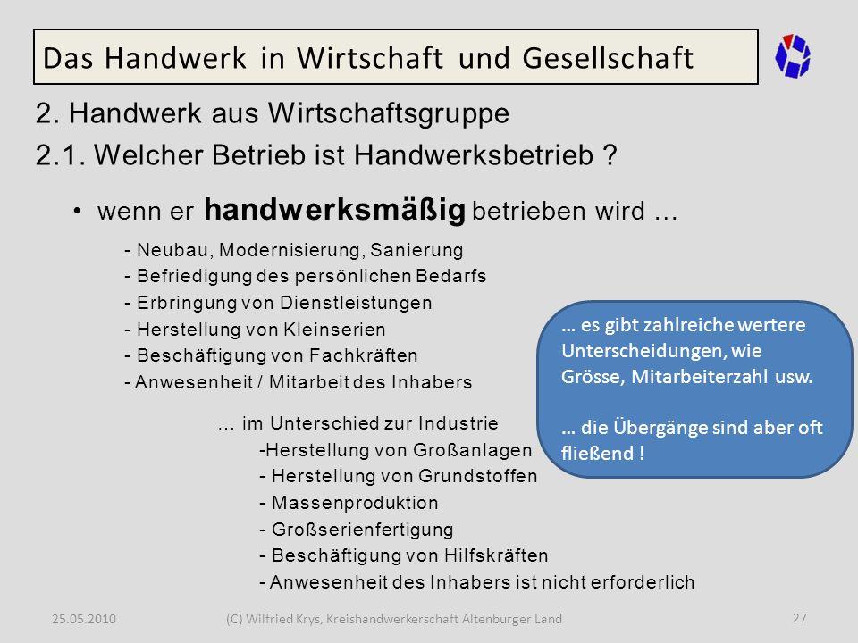 25.05.2010(C) Wilfried Krys, Kreishandwerkerschaft Altenburger Land 27 Das Handwerk in Wirtschaft und Gesellschaft 2. Handwerk aus Wirtschaftsgruppe 2