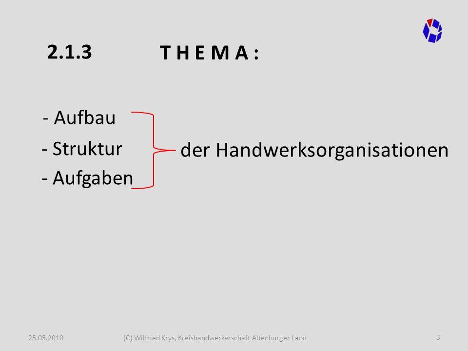 25.05.2010(C) Wilfried Krys, Kreishandwerkerschaft Altenburger Land 3 - Aufbau der Handwerksorganisationen - Aufgaben - Struktur T H E M A : 2.1.3