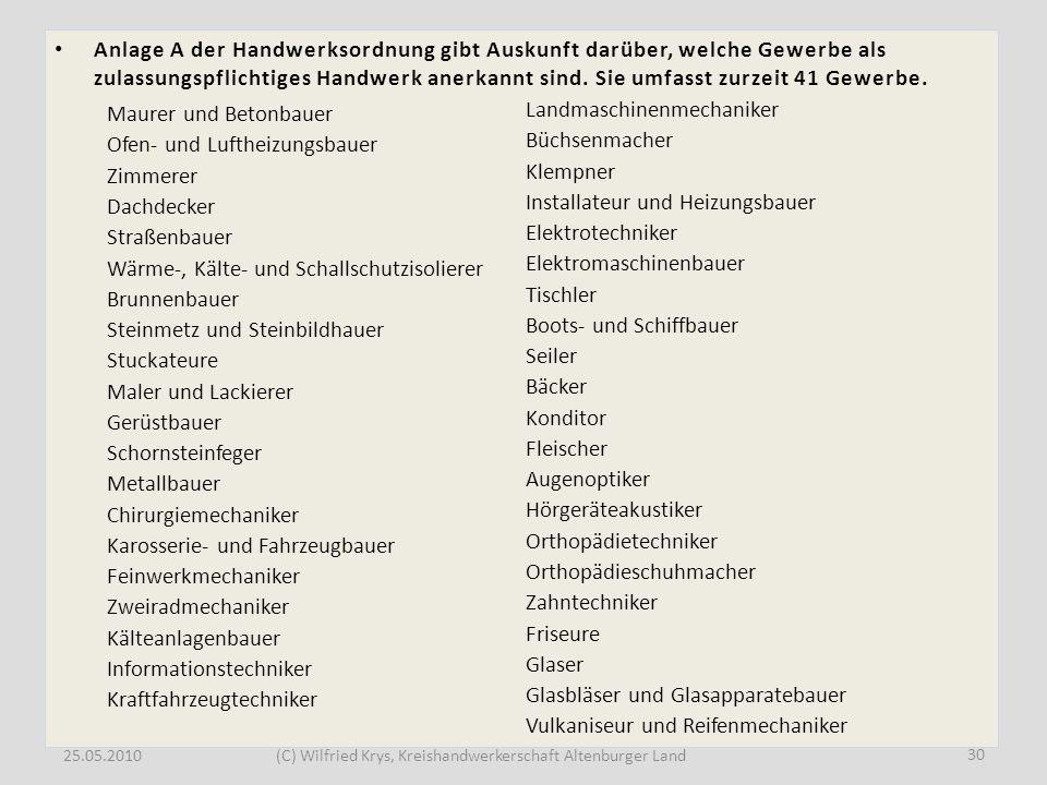25.05.2010(C) Wilfried Krys, Kreishandwerkerschaft Altenburger Land Anlage A der Handwerksordnung gibt Auskunft darüber, welche Gewerbe als zulassungs