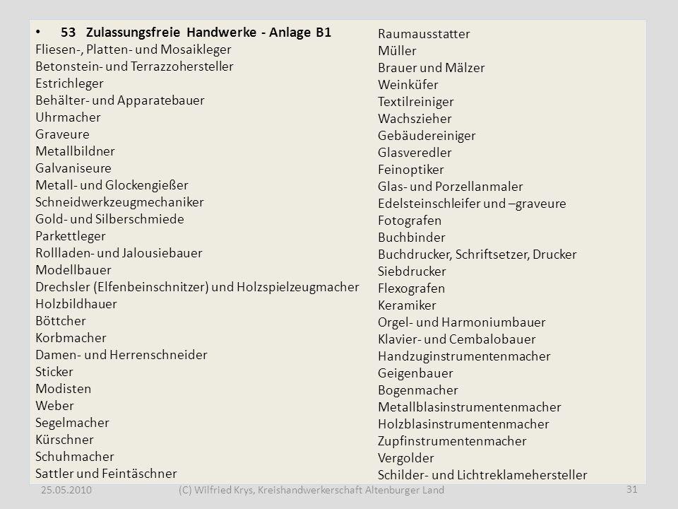 25.05.2010(C) Wilfried Krys, Kreishandwerkerschaft Altenburger Land 53 Zulassungsfreie Handwerke - Anlage B1 Fliesen-, Platten- und Mosaikleger Betons