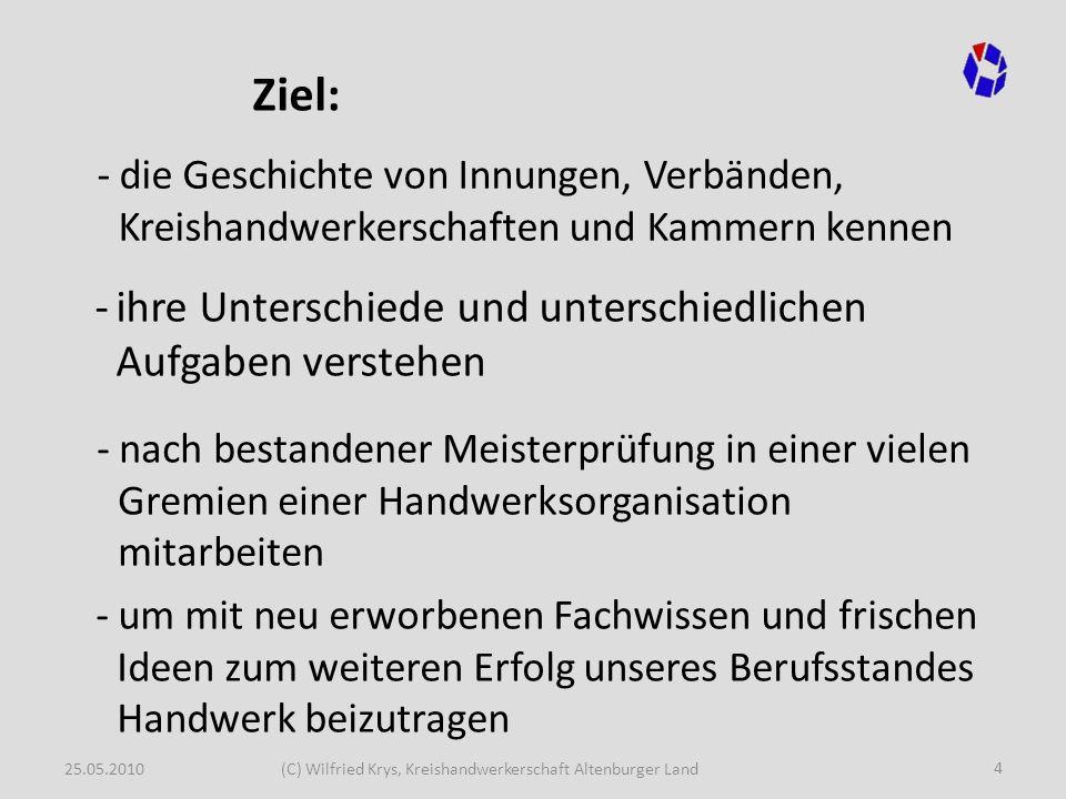 25.05.2010(C) Wilfried Krys, Kreishandwerkerschaft Altenburger Land 45 Der Aufbau der Handwerksorganisation 3.