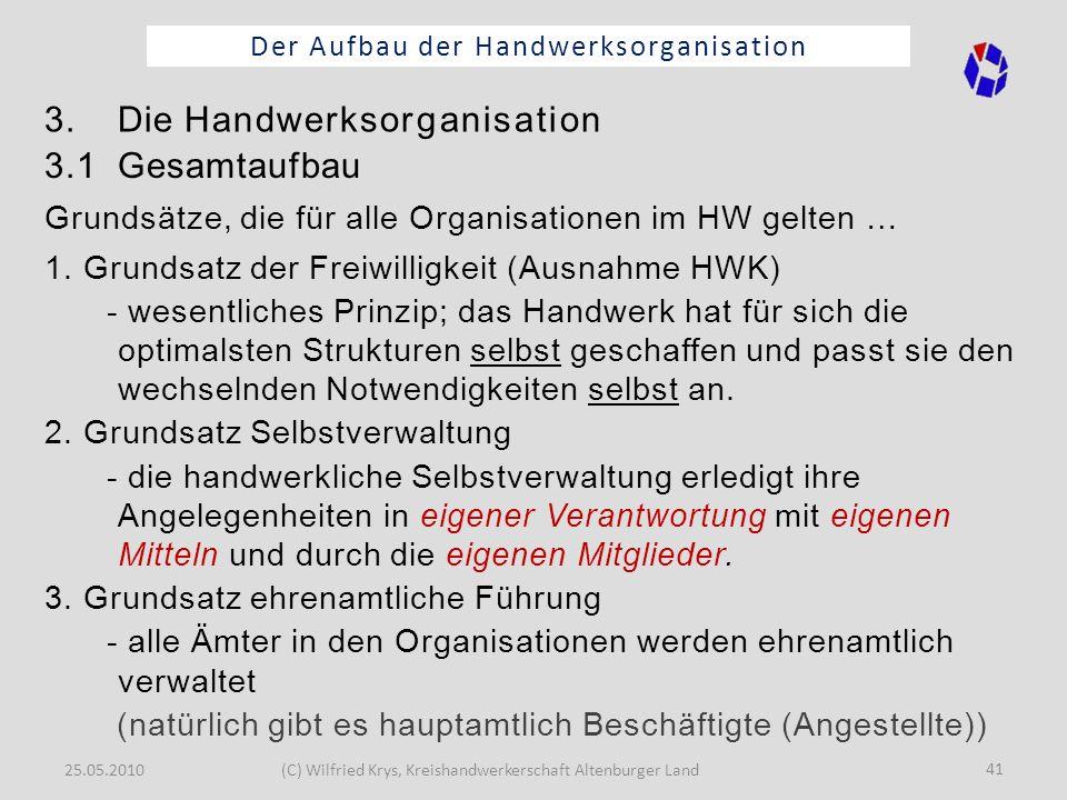 25.05.2010(C) Wilfried Krys, Kreishandwerkerschaft Altenburger Land 41 Der Aufbau der Handwerksorganisation 1. Grundsatz der Freiwilligkeit (Ausnahme
