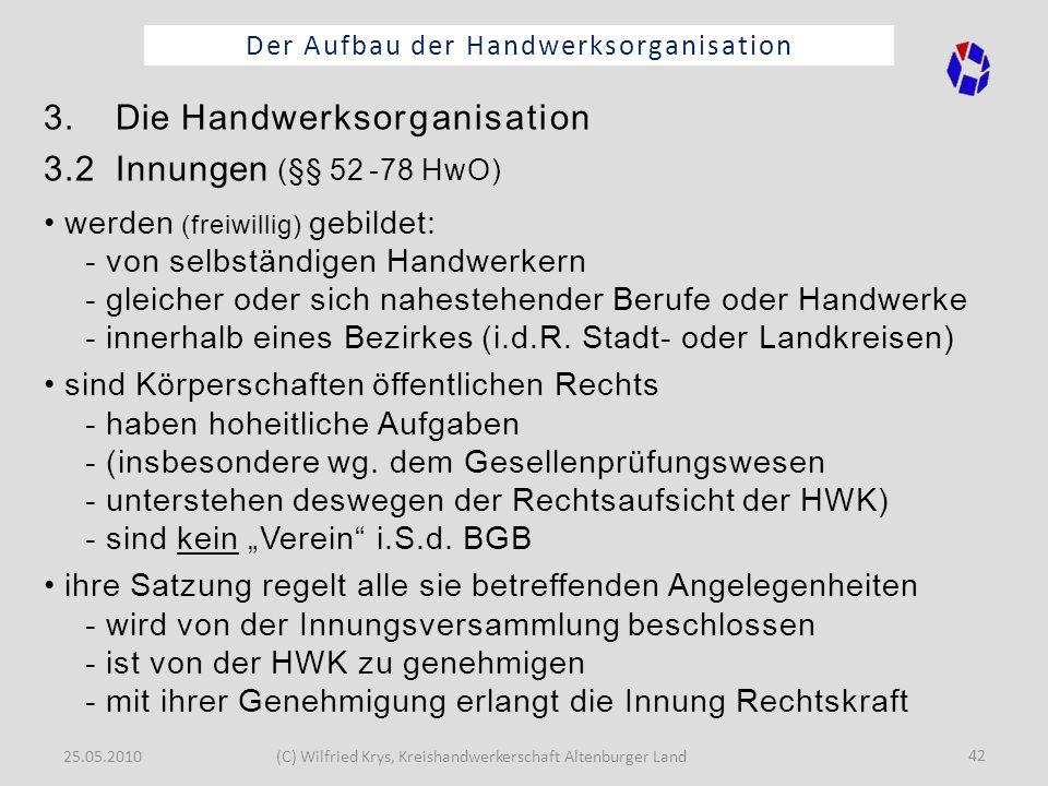 25.05.2010(C) Wilfried Krys, Kreishandwerkerschaft Altenburger Land 42 Der Aufbau der Handwerksorganisation 3. Die Handwerksorganisation 3.2 Innungen