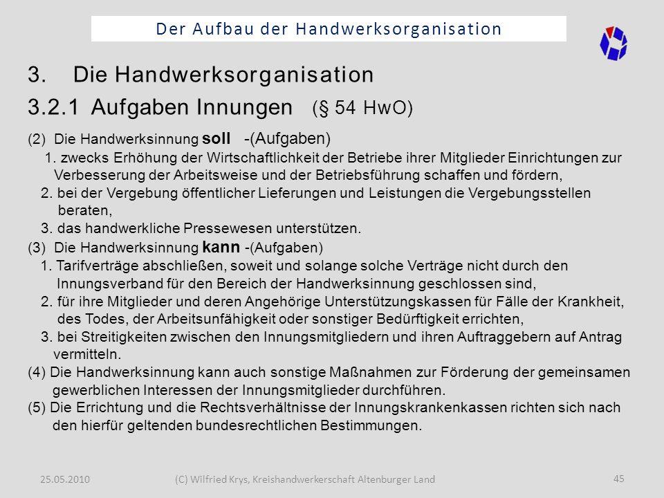 25.05.2010(C) Wilfried Krys, Kreishandwerkerschaft Altenburger Land 45 Der Aufbau der Handwerksorganisation 3. Die Handwerksorganisation 3.2.1 Aufgabe