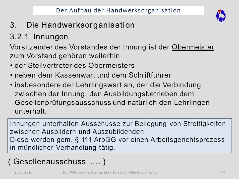 25.05.2010(C) Wilfried Krys, Kreishandwerkerschaft Altenburger Land 46 Der Aufbau der Handwerksorganisation 3. Die Handwerksorganisation 3.2.1 Innunge