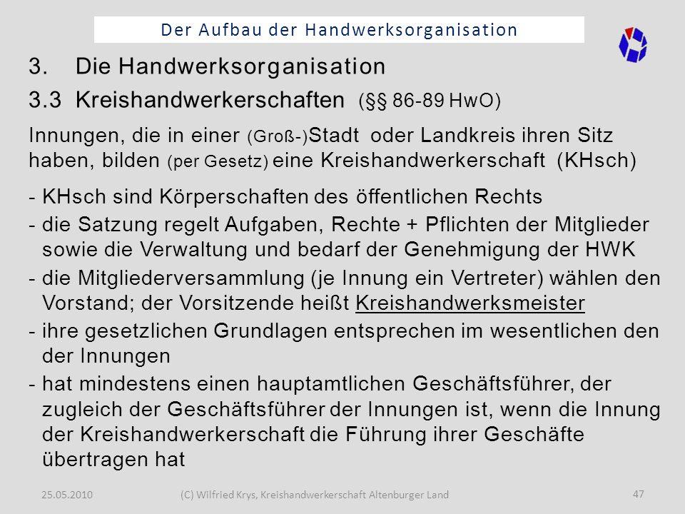 25.05.2010(C) Wilfried Krys, Kreishandwerkerschaft Altenburger Land 47 Der Aufbau der Handwerksorganisation 3. Die Handwerksorganisation 3.3 Kreishand