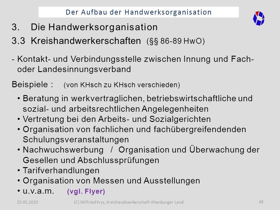 25.05.2010(C) Wilfried Krys, Kreishandwerkerschaft Altenburger Land 49 Der Aufbau der Handwerksorganisation 3. Die Handwerksorganisation 3.3 Kreishand
