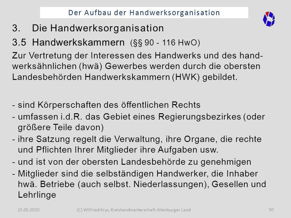 25.05.2010(C) Wilfried Krys, Kreishandwerkerschaft Altenburger Land 50 Der Aufbau der Handwerksorganisation 3. Die Handwerksorganisation 3.5 Handwerks