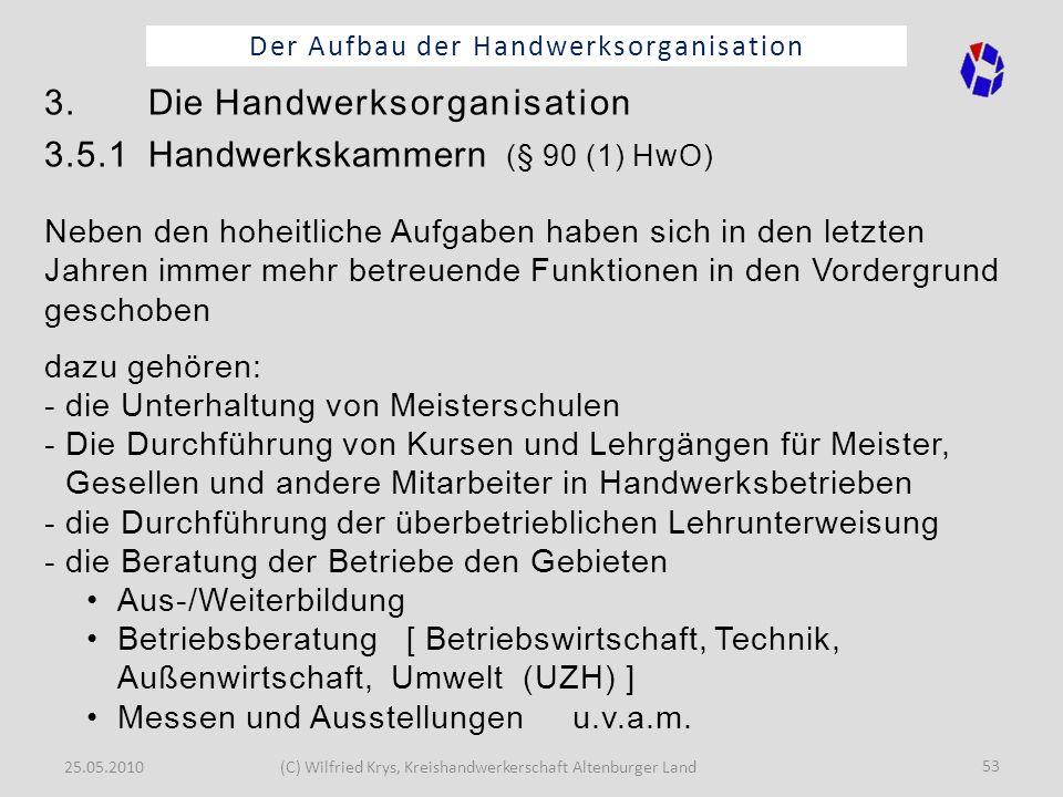 25.05.2010(C) Wilfried Krys, Kreishandwerkerschaft Altenburger Land 53 Der Aufbau der Handwerksorganisation 3. Die Handwerksorganisation 3.5.1 Handwer