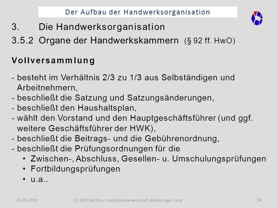 25.05.2010(C) Wilfried Krys, Kreishandwerkerschaft Altenburger Land 54 Der Aufbau der Handwerksorganisation 3. Die Handwerksorganisation 3.5.2 Organe