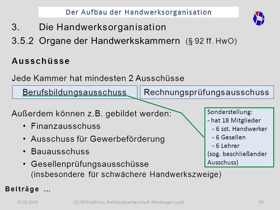25.05.2010(C) Wilfried Krys, Kreishandwerkerschaft Altenburger Land 56 Der Aufbau der Handwerksorganisation 3. Die Handwerksorganisation 3.5.2 Organe
