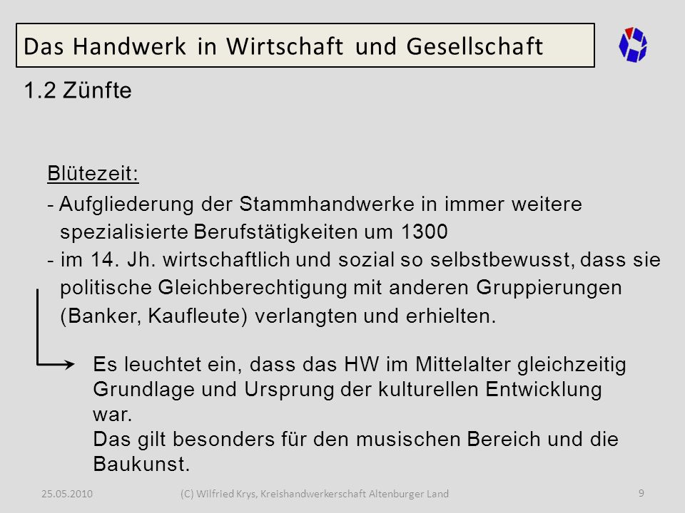 25.05.2010(C) Wilfried Krys, Kreishandwerkerschaft Altenburger Land 9 Das Handwerk in Wirtschaft und Gesellschaft 1.2 Zünfte Blütezeit: - Aufgliederun