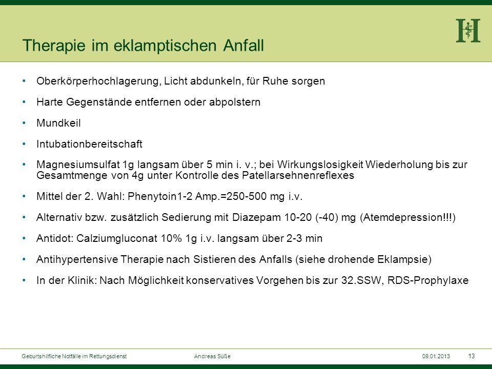 12 Geburtshilfliche Notfälle im Rettungsdienst Andreas Süße09.01.2013 Therapie bei drohender Eklampsie RR-Senkung nur bei Werten >180/110, max. um 20%