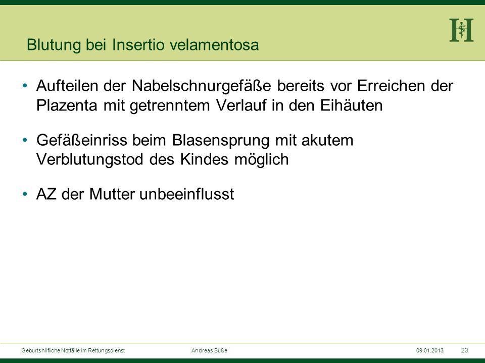 22 Geburtshilfliche Notfälle im Rettungsdienst Andreas Süße09.01.2013 Vorzeitige Plazentalösung