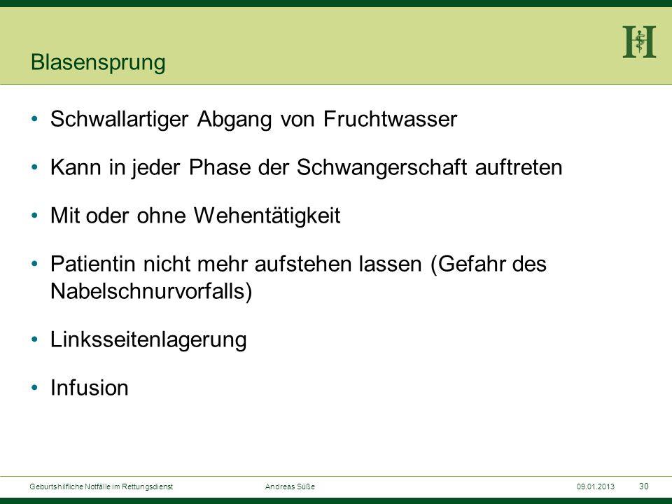 29 Geburtshilfliche Notfälle im Rettungsdienst Andreas Süße09.01.2013 Wehenhemmung (Tokolyse) Fenoterol-Spray (z.B.Berotec-200-Spray): Beginn mit 2 Hü