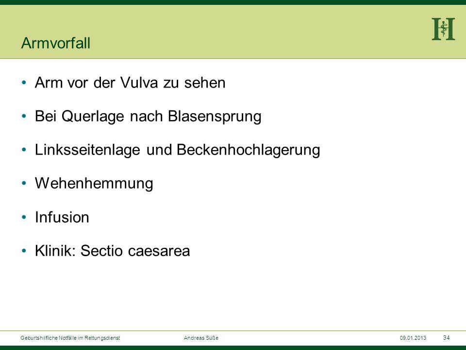 33 Geburtshilfliche Notfälle im Rettungsdienst Andreas Süße09.01.2013 Armvorfall