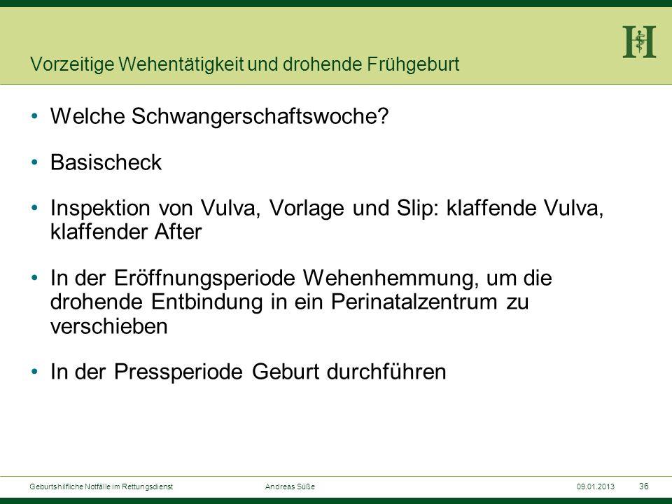 35 Geburtshilfliche Notfälle im Rettungsdienst Andreas Süße09.01.2013 Vorzeitige Wehentätigkeit und drohende Frühgeburt Regelmäßige Wehentätigkeit vor