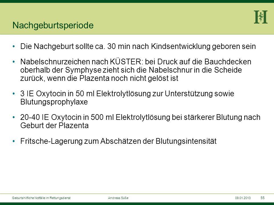54 Geburtshilfliche Notfälle im Rettungsdienst Andreas Süße09.01.2013 Schulterentwicklung