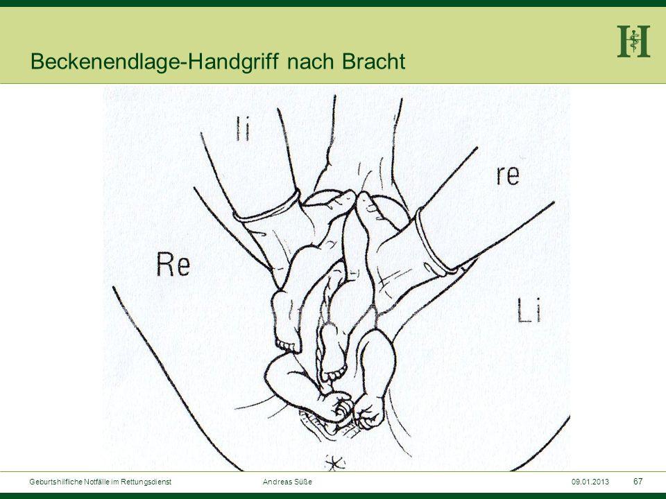 66 Geburtshilfliche Notfälle im Rettungsdienst Andreas Süße09.01.2013 Beckenendlage-Handgriff nach Bracht