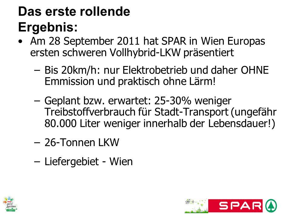 Am 28 September 2011 hat SPAR in Wien Europas ersten schweren Vollhybrid-LKW präsentiert –Bis 20km/h: nur Elektrobetrieb und daher OHNE Emmission und